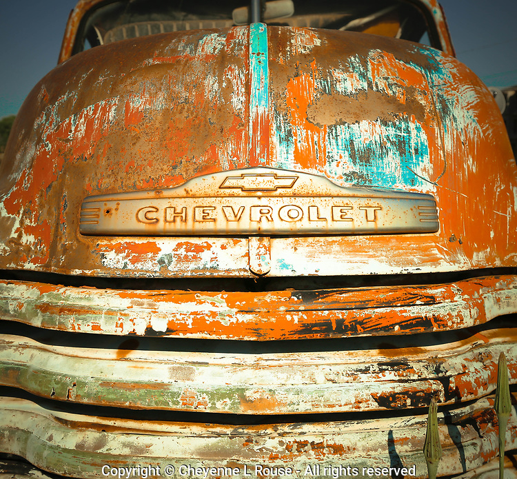Orange & Turquoise Chevy - New Mexico
