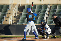Troy Maslowski (16) of the Barton Bulldogs at bat against the Queens Royals at Intimidators Stadium on March 19, 2019 in Kannapolis, North Carolina. The Royals defeated the Bulldogs 6-5. (Brian Westerholt/Four Seam Images)