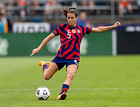 EAST HARTFORD, CT - JULY 5: Kelley O'Hara #5 of the USWNT crosses the ball during a game between Mexico and USWNT at Rentschler Field on July 5, 2021 in East Hartford, Connecticut.