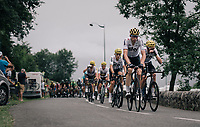 Peloton led by Team SKY up the Col des Ares (Cat2/797m/7.4km/4.6%)<br /> <br /> 104th Tour de France 2017<br /> Stage 12 - Pau › Peyragudes (214km)