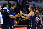 Ryan Broekhoff of Dallas Mavericks (R) high five with teammates during the NBA China Games 2018 match between Dallas Mavericks and Philadelphia 76ers at Universiade Center on October 08 2018 in Shenzhen, China. Photo by Marcio Rodrigo Machado / Power Sport Images