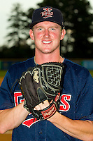 Elizabethton Twins pitcher Ryan Eades (41) poses for a photo prior to the game against the Burlington Royals at Burlington Athletic Park on August 10, 2013 in Burlington, North Carolina.  (Brian Westerholt/Four Seam Images)