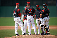 Batavia Muckdogs manager Mike Jacobs (28) talks with third baseman Tyler Curtis (11) while making a pitching change, as Marcos Rivera (8), Lazaro Alonso (19), Samuel Castro (5), and Michael Hernandez (4) look on during the first game of a doubleheader against the Williamsport Crosscutters on August 20, 2017 at Dwyer Stadium in Batavia, New York.  Batavia defeated Williamsport 6-5.  (Mike Janes/Four Seam Images)