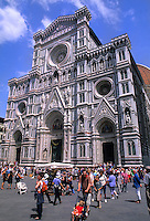 Beautiful front of the famous Duomo church with crowds in romantic Florence Italy in Tuscan