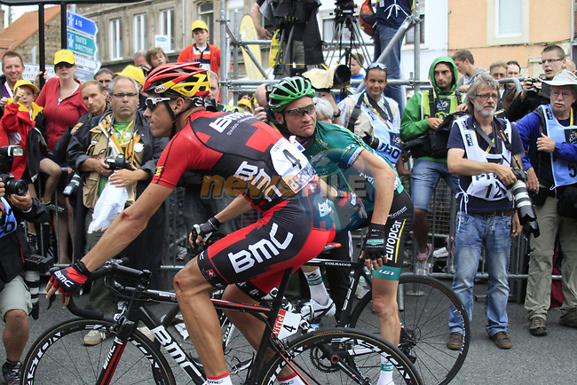 Philippe Gilbert (BEL) BMC Racing Team and Thomas Voeckler (FRA) Team Europcar at the end of Stage 3 of the 99th edition of the Tour de France 2012, running 197km from Orchies to Boulogne-sur-Mere, France. 3rd July 2012.<br /> (Photo by Eoin Clarke/NEWSFILE)
