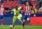Amath Ndiaye Diedhiou (L) of Getafe CF fights for the ball with Sime Vrsaljko of Atletico de Madrid during the La Liga 2017-18 match between Atletico de Madrid and Getafe CF at Wanda Metropolitano on January 06 2018 in Madrid, Spain. Photo by Diego Gonzalez / Power Sport Images