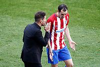 Atletico de Madrid's coach Diego Pablo Cholo Simeone (l) with Diego Godin during La Liga match. March 19,2017. (ALTERPHOTOS/Acero) /NORTEPHOTO.COM