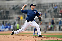 Relief pitcher Joseph Zanghi (39) of the Columbia Fireflies delivers a pitch in a game against the Lexington Legends on Sunday, April 23, 2017, at Spirit Communications Park in Columbia, South Carolina. Lexington won, 4-2. (Tom Priddy/Four Seam Images)