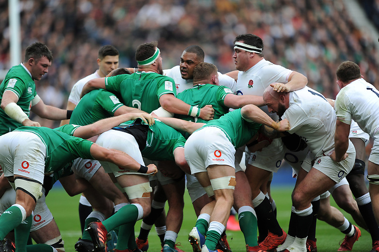 The front rows come face to face during the Guinness Six Nations match between England and Ireland at Twickenham Stadium on Sunday 23rd February 2020 (Photo by Rob Munro/Stewart Communications)