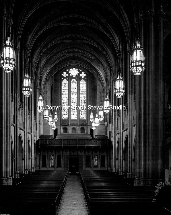 East Liberty PA:  View of the Chapel inside the East Liberty Presbyterian Church. Brady Stewart Jr and Carmen Sabatasso photographed the interior and exterior of the church in 1976.  View of the stained windows in the Chapel.