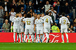 Players of Real Madrid celebrate goal during La Liga match between Real Madrid and CD Leganes at Santiago Bernabeu Stadium in Madrid, Spain. October 30, 2019. (ALTERPHOTOS/A. Perez Meca)