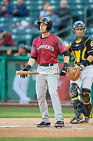 Austin Slater (13) of the Sacramento River Cats bats against the Salt Lake Bees at Smith's Ballpark on April 12, 2019 in Salt Lake City, Utah. The River Cats defeated the Bees 4-2. (Stephen Smith/Four Seam Images)