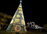 Decorations for both Christmas and Three Kings Day in tourist resort of  Torremolinos, Andalucia, Spain<br /> Traditionally in Spain, Epiphany is celebrated around the country as much as Christmas. The eve of the Epiphany (January 5th) - marking the end of the Christmas festivities -, sees parades depicting the story of the Three Wise Men or Three 'Kings'. In Andalucia, January 6th is a very special day throughout the region as it is a day for families to come together for a special meal, gift exchanges and time together. Commonly, both Christmas Day and January 6th are getting about equal celebration with the children's gifts often divided between the two days. 6th January 2020<br /> <br /> Photo by Keith Mayhew