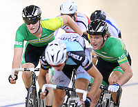 MSC Dyland Kennett and Shane Archbold in the madison at the BikeNZ Elite & U19 Track National Championships, Avantidrome, Home of Cycling, Cambridge, New Zealand, Sunday, March 16, 2014. Credit: Dianne Manson
