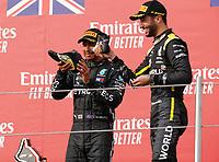 1st November 2020, Imola, Italy; FIA Formula 1 Grand Prix Emilia Romagna, Race Day; 44 Lewis Hamilton GBR, Mercedes-AMG Petronas Formula One Team, 3 Daniel Ricciardo AUS, Renault DP World F1 Team