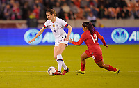 HOUSTON, TX - JANUARY 31: Andi Sullivan #6 of the Unites States dribbles with the ball past Maryorie Perez #14 of Panama during a game between Panama and USWNT at BBVA Stadium on January 31, 2020 in Houston, Texas.