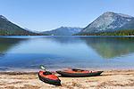 Kayaks on the shore, Lake Wenatchee State Park, Washington State.  NW EVC Campoiut, Spring 2015