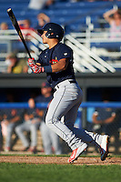 State College Spikes catcher Jeremy Martinez (41) at bat during a game against the Batavia Muckdogs on June 23, 2016 at Dwyer Stadium in Batavia, New York.  State College defeated Batavia 8-4.  (Mike Janes/Four Seam Images)