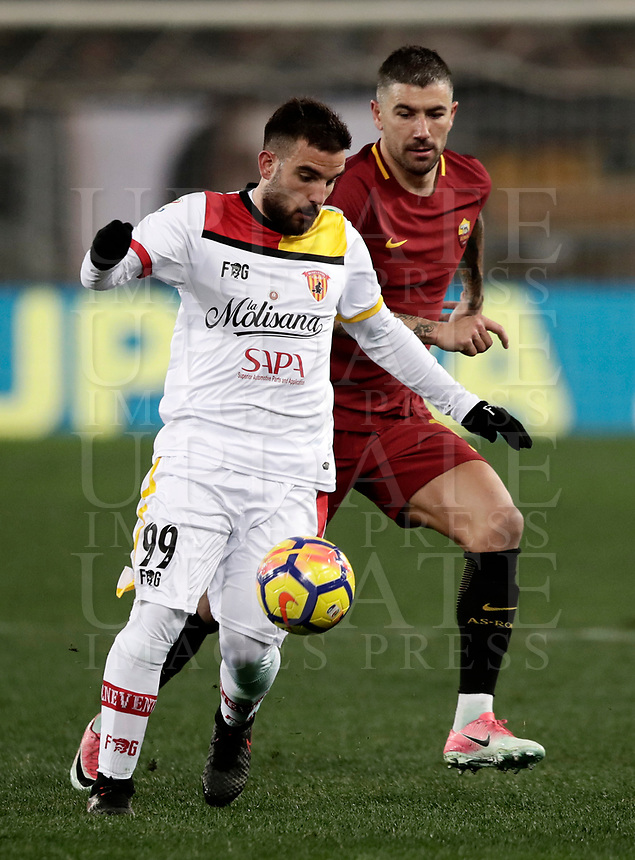 Calcio, Serie A: AS Roma - Benevento, Roma, stadio Olimpico, 11 gennaio 2018.<br /> Benevento's Enrico Brignola (l) in action with Roma's Alekandar Kolarov (r) during the Italian Serie A football match between AS Roma and Benevento at Rome's Olympic stadium, February 11, 2018.<br /> UPDATE IMAGES PRESS/Isabella Bonotto