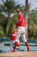 Philadelphia Phillies pitcher Jake Kinney (43) checks the runner on first base during a Florida Instructional League game against the Baltimore Orioles on October 4, 2018 at Ed Smith Stadium in Sarasota, Florida.  (Mike Janes/Four Seam Images)