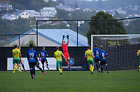 Zac Jones goes up for the ball during the Central League football match between Miramar Rangers and Lower Hutt AFC at David Farrington Park in Wellington, New Zealand on Saturday, 10 April 2021. Photo: Dave Lintott / lintottphoto.co.nz