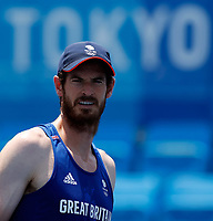 20th July 2021, TOKYO, JAPAN:  Andy Murray of Britain attends a training session ahead of the Tokyo 2020 Olympic Games at Ariake Tennis Park in Tokyo, Japan