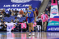 GREENSBORO, NC - MARCH 05: Dayshanette Harris #1 of University of Pittsburgh brings the ball up the court during a game between Pitt and Georgia Tech at Greensboro Coliseum on March 05, 2020 in Greensboro, North Carolina.