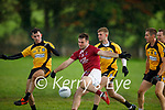 Cromane's Shane O'Neills effort about to be blocked by Conor Keane of Asdee in the 2020 Novice Club football Championship final