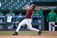 Tyler Holton (14) of the Florida State Seminoles follows through on his swing against the Notre Dame Fighting Irish in Game Four of the 2017 ACC Baseball Championship at Louisville Slugger Field on May 24, 2017 in Louisville, Kentucky. The Seminoles walked-off the Fighting Irish 5-3 in 12 innings. (Brian Westerholt/Four Seam Images)