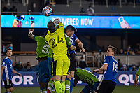 SAN JOSE, CA - MAY 12: Stefan Frei #24 of the Seattle Sounders. Punches the ball during a game between San Jose Earthquakes and Seattle Sounders FC at PayPal Park on May 12, 2021 in San Jose, California.
