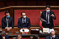 The Minister of Foreign Affairs Luigi di Maio, the Minister of Justice Alfonso Bonafede and the Italian Premier Giuseppe Conte during the information at the Senate about the government crisis..<br /> Rome(Italy), January 19th 2021<br /> Photo Pool Alessandro Di Meo/Insidefoto