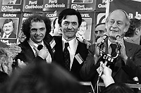 November 15, 1976 file photo - Montreal (Qc) CANADA - Claude Charron (L), Camille Laurin (M) and other Candidates of the Parti Quebecois celebrate the 1976 victory with the party leader Rene Levesque (R) , November 15 1976 at Centre Paul Sauve.