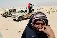 Rebels gather at the front at Ajdabiya. On 17 February 2011 Libya saw the beginnings of a revolution against the 41 year regime of Col Muammar Gaddafi.