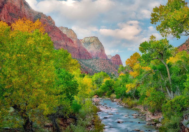 Fall color and Virgin River with sunset clouds. Zion National Park, Utah.
