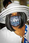 WATERBURY, CT 050821JS07—Nancy Vincent of Waterbury sports a nice hat and a love never fails mask during a Mother's Day celebration held Saturday at Lakewood Park in Waterbury. The event was hosted by the Black Women United Committee. <br /> Jim Shannon Republican American