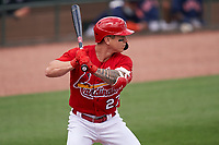 St. Louis Cardinals Tyler O'Neill (27) bats during a Major League Spring Training game against the Houston Astros on March 20, 2021 at Roger Dean Stadium in Jupiter, Florida.  (Mike Janes/Four Seam Images)