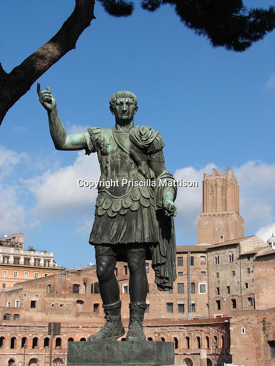 Rome, Italy - January 27, 2007:  A statue of Trajan gestures at Trajan's Market.
