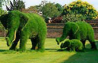 This family of life-size grass elephants is one of the main attractions in the large garden of this English house