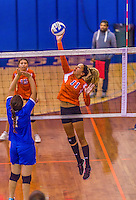 2 November 2014: Purchase College Panther Nicole Fortuna, a Sophomore from New Rochelle, NY, in action against the Yeshiva University Maccabees at SUNY Purchase College, in Purchase, NY. The Maccabees defeated the Panthers 3-1 in the NCAA Division III Women's Volleyball Skyline matchup. Mandatory Credit: Ed Wolfstein Photo *** RAW (NEF) Image File Available ***