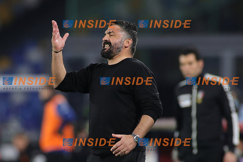 Gennaro Gattuso coach of SSC Napoli gestures during the Italy Cup football match between SSC Napoli and Empoli FC at stadio Diego Armando Maradona in Napoli (Italy), January 13, 2021. <br /> Photo Cesare Purini / Insidefoto