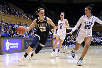 DURHAM, NC - JANUARY 26: Francesca Pan #33 of Georgia Tech is chased by Jade Williams #25 of Duke University during a game between Georgia Tech and Duke at Cameron Indoor Stadium on January 26, 2020 in Durham, North Carolina.