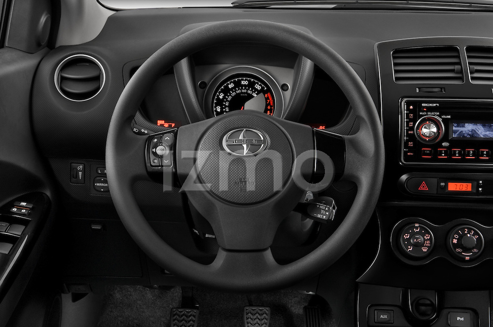 Steering wheel detail view of a 2008 Scion XD