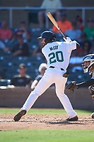 Surprise Saguaros Mason McCoy (20), of the Baltimore Orioles organization, at bat during the Arizona Fall League Championship Game against the Salt River Rafters on October 26, 2019 at Salt River Fields at Talking Stick in Scottsdale, Arizona. The Rafters defeated the Saguaros 5-1. (Zachary Lucy/Four Seam Images)