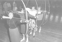 Arlington State College,female students with bow and arrow. ca.mid-1960s