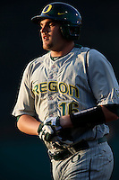 Shaun Chase #16 of the Oregon Ducks during a baseball game against the USC Trojans at Dedeaux Field on March 15, 2013 in Los Angeles, California. (Larry Goren/Four Seam Images)