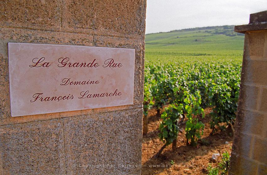 La Grande Rue Domaine Francois Lamarche, inscribed on a stone pillar in the Grand Cru vineyard, Vosne Romanee, Bourgogne