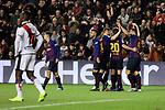 FC Barcelona's players celebrate goal during La Liga match between Rayo Vallecano and FC Barcelona at Vallecas Stadium in Madrid, Spain. November 03, 2018. (ALTERPHOTOS/A. Perez Meca)