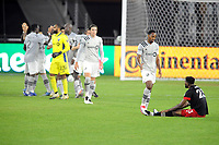 WASHINGTON, DC - NOVEMBER 8: Mason Toye #13 of Montreal Impact shakes hands with Donovan Pines #23 of D.C. United after a game between Montreal Impact and D.C. United at Audi Field on November 8, 2020 in Washington, DC.