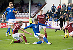 Arbroath v St Johnstone…15.08.21  Gayfield Park      Premier Sports Cup<br />Glenn Middleton scores from the penalty rebound<br />Picture by Graeme Hart.<br />Copyright Perthshire Picture Agency<br />Tel: 01738 623350  Mobile: 07990 594431