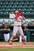 Palm Beach Cardinals Rayder Ascanio (3) at bat during a Florida State League game against the Bradenton Marauders on May 10, 2019 at LECOM Park in Bradenton, Florida.  Bradenton defeated Palm Beach 5-1.  (Mike Janes/Four Seam Images)